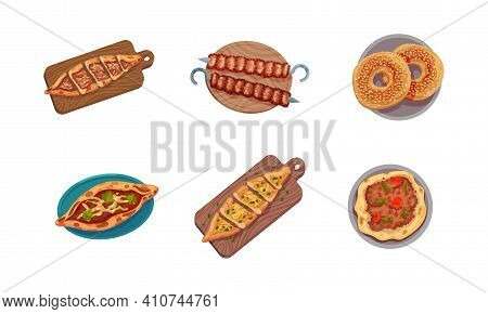 Turkish National Food With Shish Kebab And Baked Ring With Sesame Above View Vector Set