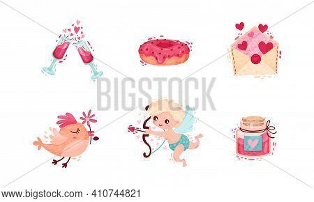 Saint Valentine Day Festive Attributes And Symbols With Cherub And Envelope Vector Set