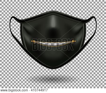 Protective Comic Black Mask From Covid 19. Party, Halloween And Other Fun. Open Zip Closure And Two