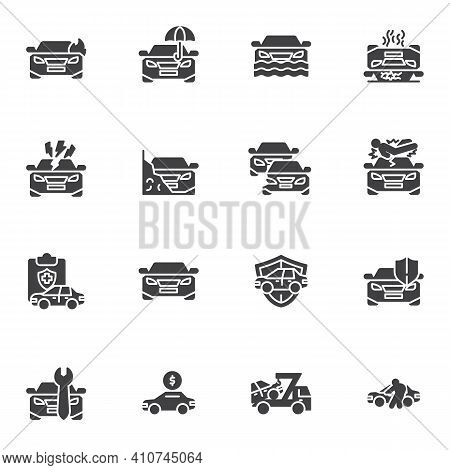 Car Accident Vector Icons Set, Auto Insurance Modern Solid Symbol Collection, Filled Style Pictogram
