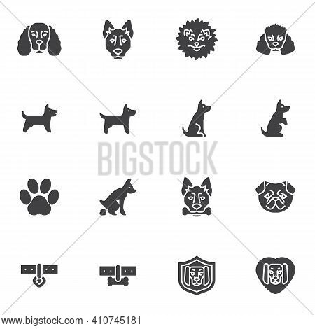 Pet Dog Training Vector Icons Set, Modern Solid Symbol Collection, Filled Style Pictogram Pack. Sign