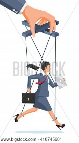 Businesswoman Marionette Is Hanging On Ropes. Hand Of Puppeteer Holding Business Woman On Leash. Pup