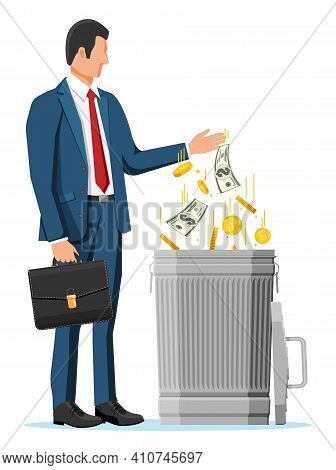 Businessman Putting Golden Coins And Dollar Bills In Trash. Garbage Waste Investment. Losing Or Wast