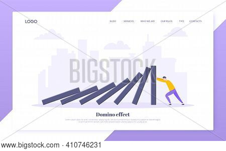 Domino Effect Business Resilience Metaphor Vector Illustration Concept. Adult Young Businessman Push