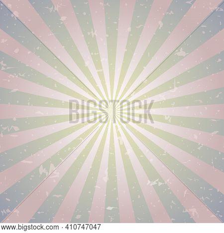 Retro Faded Grunge Background. Grey Color Burst Background. Vector Illustration. Sun Beam Ray Backgr