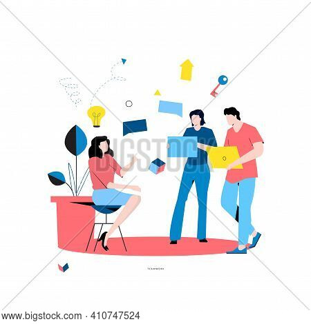 Business Meeting Flat Vector. Business People Discussion, Team Work, Business People Working Togethe