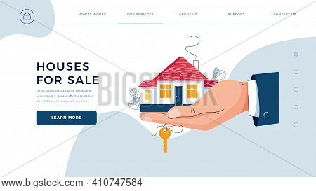 House For Sale Homepage Template. Brokers Hand Is Giving Keys For Home Purchase. Deal Sale, Property
