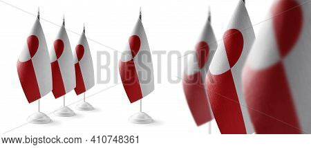 Set Of Greenland National Flags On A White Background