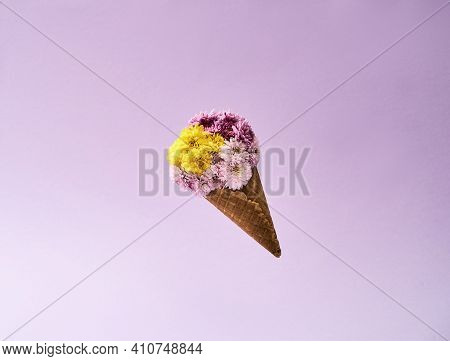 Bouquets For A Gift On March 8 On A Pink Background. Bouquet Of Colorful Flowers For The Spring Holi