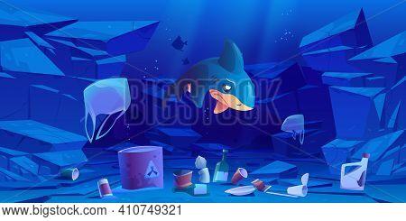 Sad Shark, Floating Plastic Bags And Garbage Underwater In Sea Or Ocean. Ocean Pollution By Trash, G