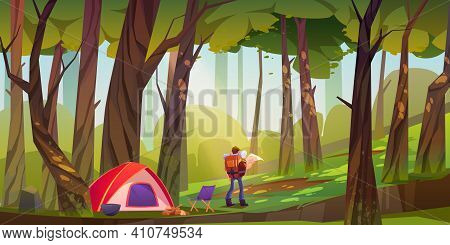 Traveler Camp In Forest, Tourist With Backpack And Map Stand At Scenery Wood Landscape Search Right