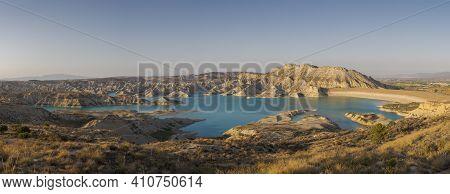 Views of Algeciras reservoir. It is located in the municipality of Alhama de Murcia, region of Murcia, Spain