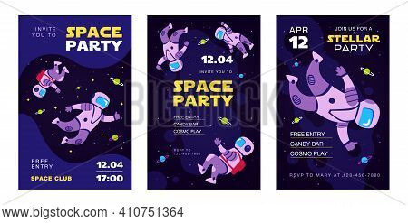 Stylish Invitation Designs With Cosmonauts In Space. Creative Birthday Or Holiday Invitations With F