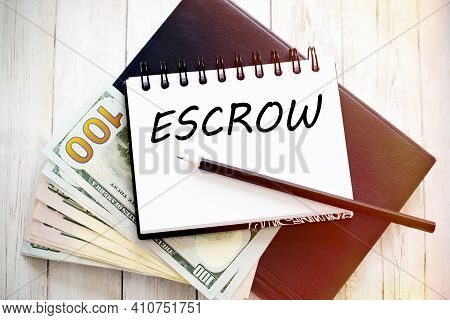 Notebook Writing Escrow, Office Table Business Concept