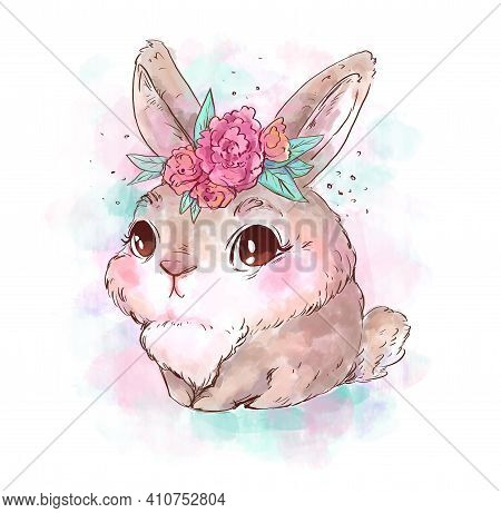 Cute Little Rabbit With Flowers On Head. Cartoon Hand-drawn Illustration On White Background