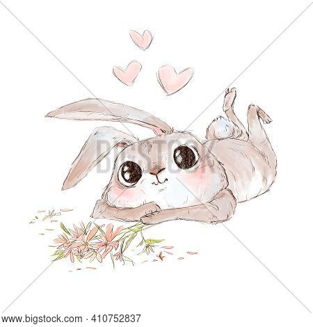 Cute Enamored Rabbit Looking And Holding Flowers. Cartoon Illustration On White Background