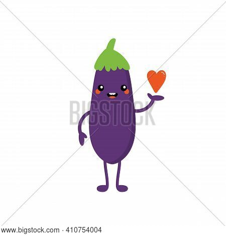 Cute Cartoon Style Happy Eggplant, Aubergine Character Holding In Hand Red Heart. Love, Caring, Appr