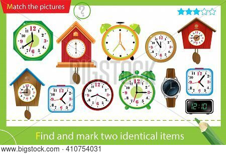 Find And Mark Two Identical Items. Puzzle For Kids. Matching Game, Education Game For Children. Colo