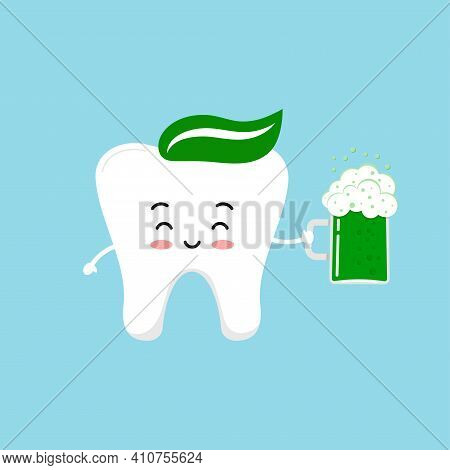 St Patrick Day Tooth With Glass Of Beer. Cute Dental Happy Teeth Irish Character With Glass Of Splas