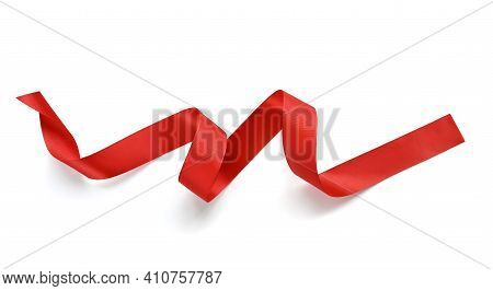 Red Satin Ribbon Isolated On A White Background