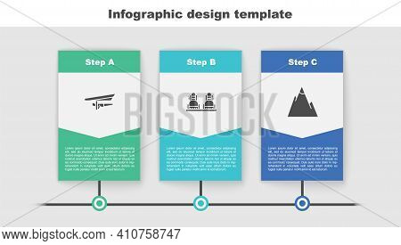Set Hang Glider, Snowboard And Mountains. Business Infographic Template. Vector