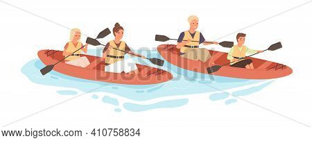 Happy Active Family With Kids Rafting On Kayak Or Canoe Along River In Summer. Parents And Children
