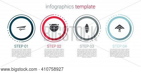 Set Hang Glider, Speedboat, Surfboard And . Business Infographic Template. Vector