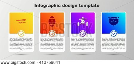 Set Hang Glider, Rugby Ball, Atv Motorcycle And Speedboat. Business Infographic Template. Vector