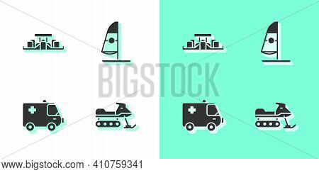 Set Snowmobile, Formula 1 Racing Car, Ambulance And Emergency And Windsurfing Icon. Vector