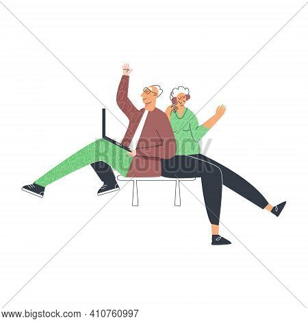 Senior People Lifestyle, Elderly Couple Using Computer, Modern Pensioner Leisure. Old Lady And Gentl