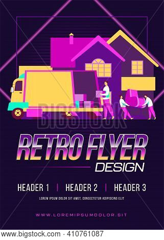 Loaders Carrying Armchair And Boxes In New House. Belonging, Van, Worker Flat Vector Illustration. R