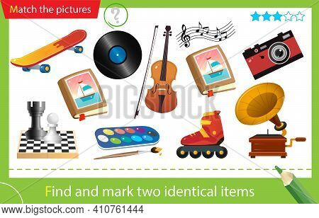 Find And Mark Two Identical Items. Puzzle For Kids. Matching Game, Education Game For Children. Hobb