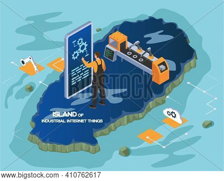 Island Of Industrial Internet Things, Smart Industry, Male Worker Connecting With Factory Using Tabl