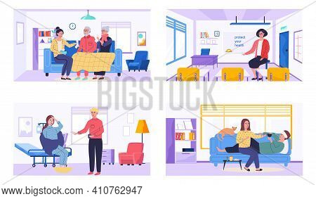 Set Of Illustrations About Healthcare And Treatment. People Take Medication And Help Relatives. Char
