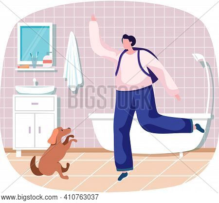 Pet Owner Happy Woman Playing With Dog At Home In Bathroom, Funny Girl Jumping Training Puppy, Walki