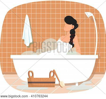 Lady Sitting In Bathtub With Hot Water. Trendy Bathroom Interior Design. Girl Is Taking Bath. Cleans