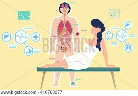 Examining Body Components Of Patient. Detailed Information On Organs Functioning. Anatomical Structu