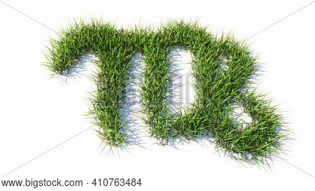 Concept or conceptual green summer lawn grass symbol shape isolated white background, sign of virgo zodiac sign. 3d illustration symbol for  esoteric, the mystic, the power of prediction of astrology
