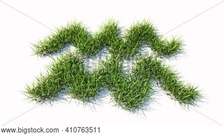 Concept conceptual green summer lawn grass symbol shape isolated white background, sign of aquarius zodiac sign. 3d illustration symbol for  esoteric, the mystic, the power of prediction of astrology