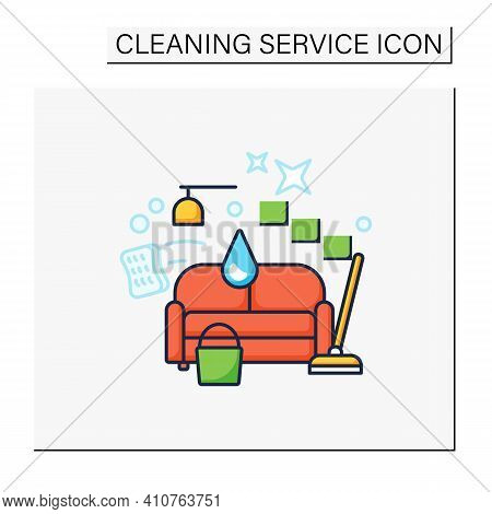 Living Room Cleaning Color Icon. Home Cleanup. Sofa Dry. Clutter Cleanup. Mopping, Wiping, Dusting.