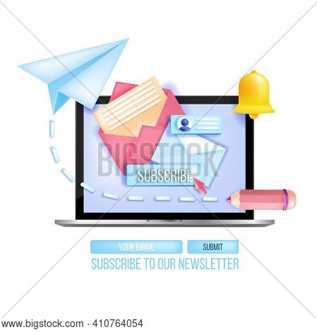 Subscribe To Email Newsletter Vector 3d Concept, Laptop, Paper Airplane, Notification Bell Icon. Mai