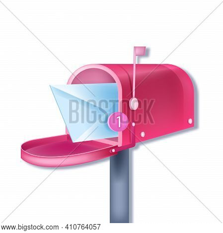 Vector Pink Traditional Mailbox Email Notification, New Letter Concept Isolated On White, Closed Env