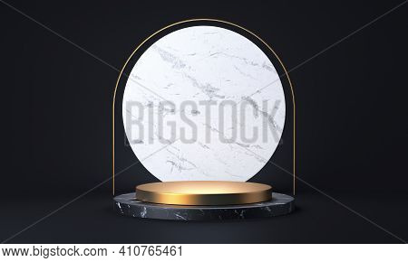 Black Marble And Gold Product Stand. Abstract Empty Stage Or Pedestal 3d Rendering