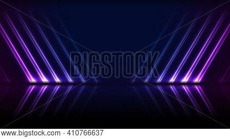 Blue ultraviolet neon laser lines technology background
