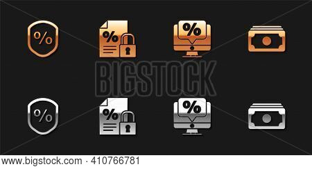 Set Loan Percent, Finance Document And Lock, Percent Discount Monitor And Stacks Paper Money Cash Ic