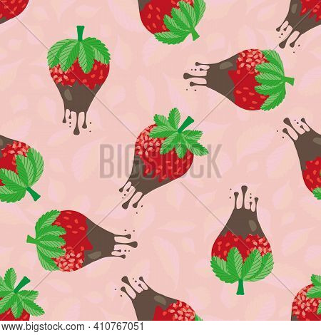 Chocolate Dipped Strawberry Seamless Vector Pattern Background. Red Berries Dripping With Melting Dr
