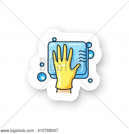 Cleaning Sponge Sticker. Wiping With Sponge. Housekeeper Hand In Glove Pictogram Badge For Designs.