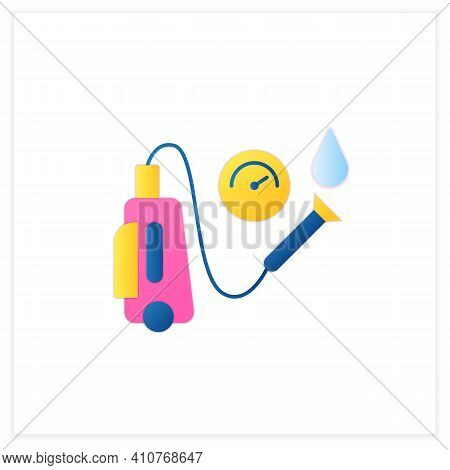Pressure Washing Flat Icon. Power Washing. Hydro-jet Cleaning. High-pressure Water Spray Usage To Re