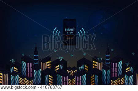Smartphone Control Smart City Automation.smartphone On The Smart City With Of Town Infrastructure Co