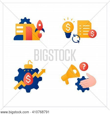 Business Incubator Flat Icons Set. Startup Company. Marketing Assistance, Tax Declaration. Startup A